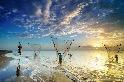 朝陽下的漁網