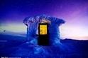 極光下的小屋