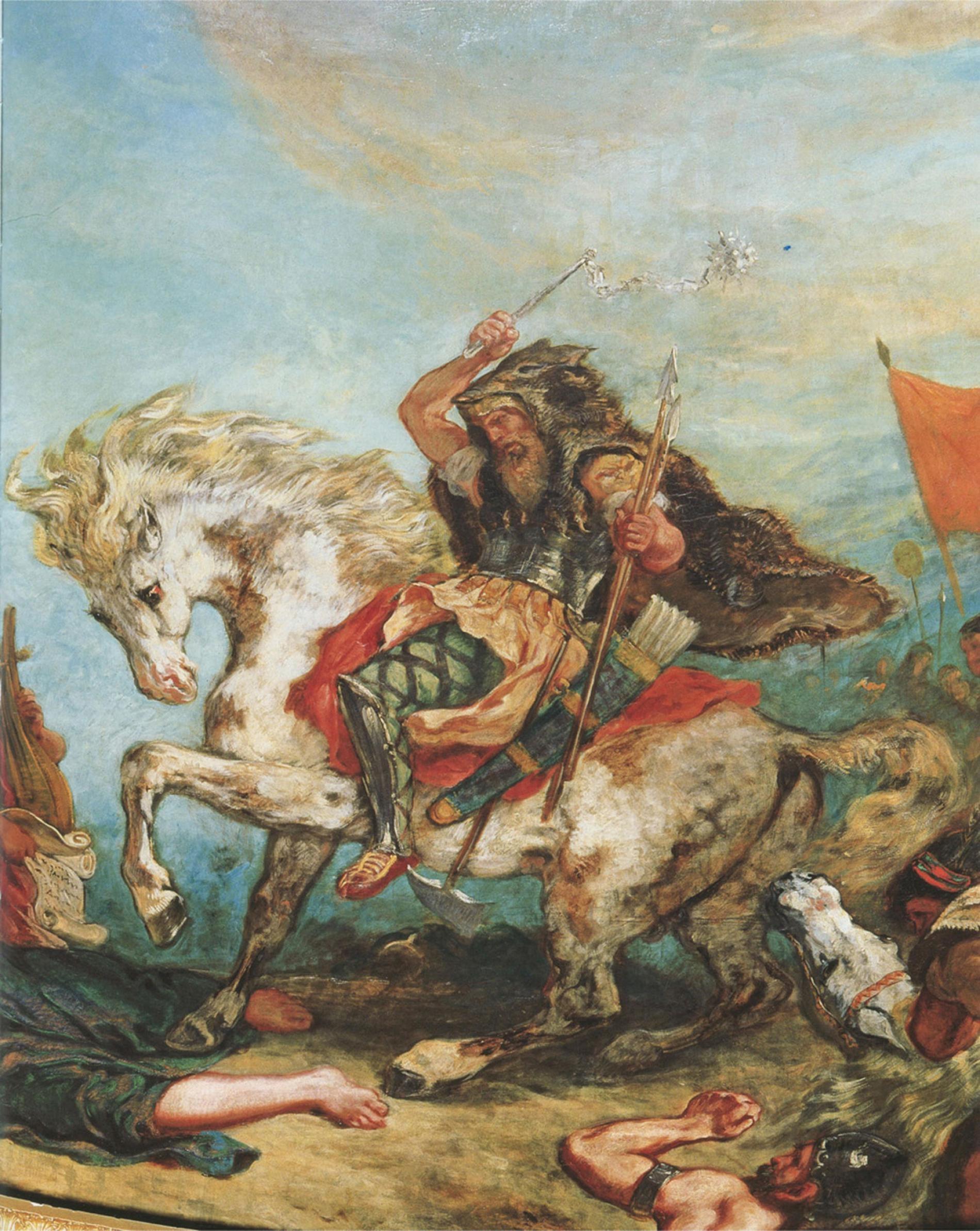 在法國畫家德拉克洛瓦(Eugene Delacroix)的畫作中,匈人阿提拉(Attila the Hun )與他的手下從馬背上攻擊敵人。PHOTOGRAPH BY THE PICTURE ART COLLECTION, ALAMY