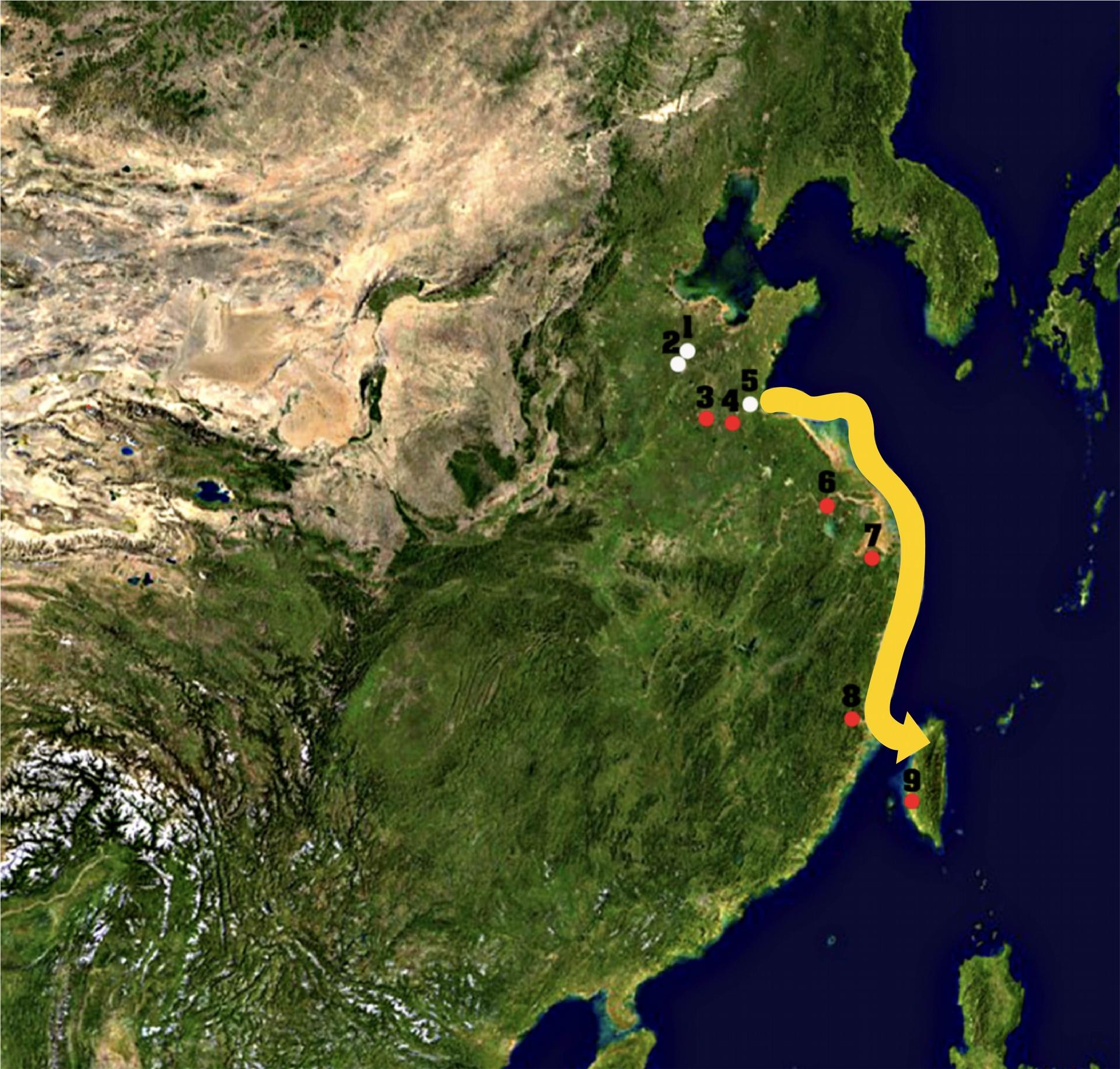 稻起源自長江流域,後來與山東起源的黍、稷一起往南方傳播,進入臺灣。黃色路徑顯示了從山東到臺灣的傳播路線,這個路線也許透漏南島語族遷徙的線索。 <br>圖片來源│邢禹依