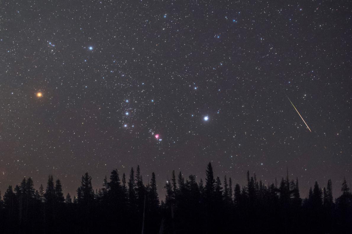 一顆流星劃過地平線上空的獵戶座。明亮的紅巨星參宿四(左)就位在這個著名的星座之中。PHOTOGRAPH BY BABAK TAFRESHI, NAT GEO IMAGE COLLECTION