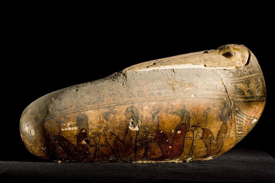 一枚聖䴉木乃伊的特殊外層──由亞麻和泥灰製成的外殼──重現了這種鳥的長喙與頭部,並以玻璃珠作為眼睛。大約在公元前650年至250年之間在埃及有數百萬隻聖䴉木乃伊被獻祭給神祇。PHOTOGRAPH BY RICHARD BARNES, NAT GEO IMAGE COLLECTION