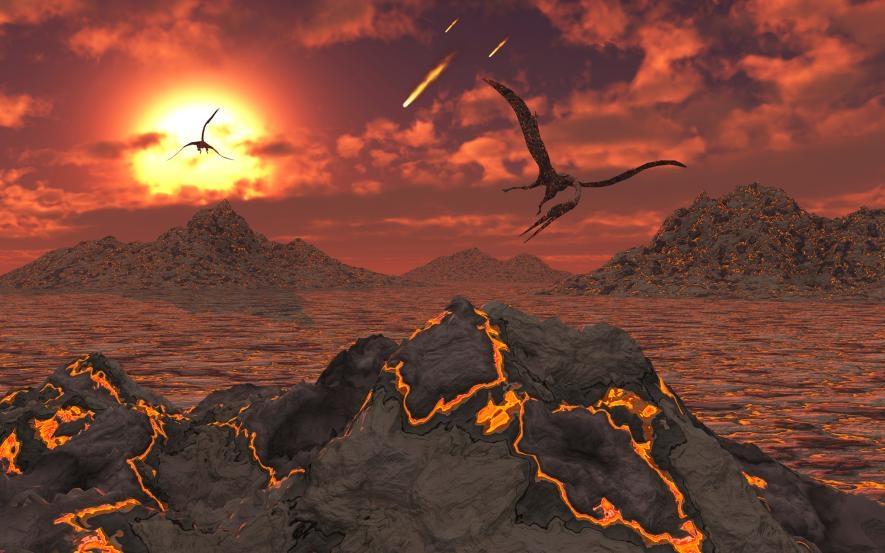 在讓非飛行恐龍滅亡的大滅絕事件發生時,幾隻翼龍飛過火山的想像圖。ILLUSTRATION BY STOCKTREK IMAGES, NAT GEO IMAGE COLLECTION