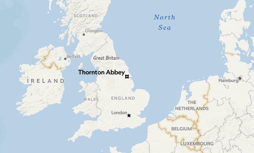 桑頓修道院(Thornton Abbey)在英國的位置。