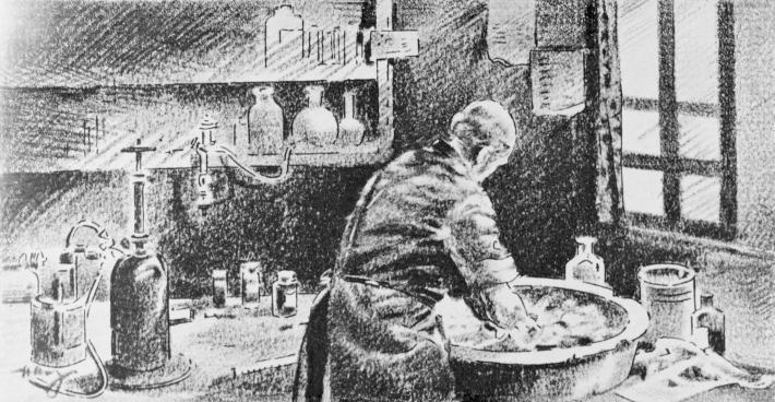 在這幅素描畫中,塞默維斯正用次氯酸鈣溶液清洗雙手。雖然他找出讓醫療照護更安全的做法,但直到他在1865年逝世以前都未曾受到認同。PHOTOGRAPH BY BETTMANN, GETTY
