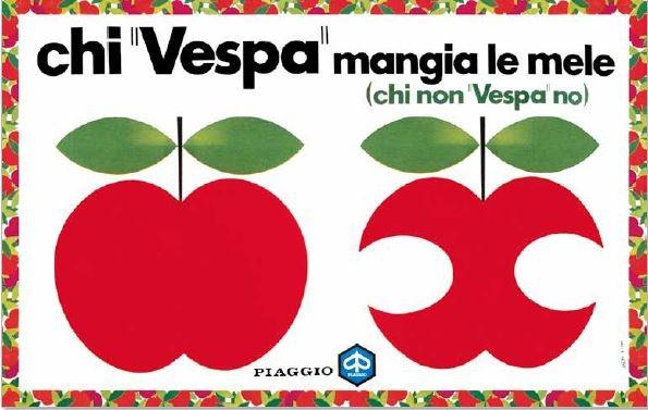 最負盛名的廣告詞「騎Vespa 的人吃蘋果」,演化出許多變奏版。這是當年廣告文案的原始草圖,所有的字體、風格化的蘋果圖像和速克達都是手工繪製,未用經任何科技輔助。