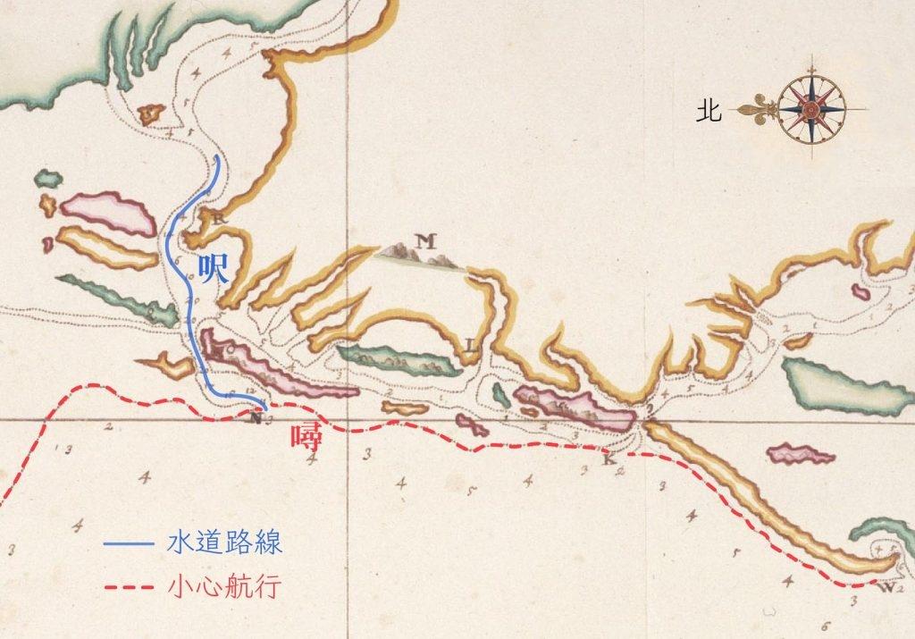 海圖標示的數字,在海岸外圍是以「噚」來計算。而到了海灣內,水道的高低落差變小,就改以較細緻的「呎」來標記。畫虛線處(紅線標示)是會觸底的沙洲範圍,提醒船隻小心行駛。(編註:本文的呎指「荷呎」,荷呎規格當時並未統一,如萊因呎為 31.4 公分、阿姆斯特丹呎為 28.3 公分,採用何種標準視測量人員手頭工具與偏好而定。) 圖片來源│Map of the Western Coast of Taiwan(部分), Johannes Vingboons, Atlas Blaeu, Vol. 41:08, Fol. 54-55. 感謝奧地利國家圖書館 (Österreichische Nationalbibliothek) 授權使用。 圖說重製│林婷嫻、林洵安