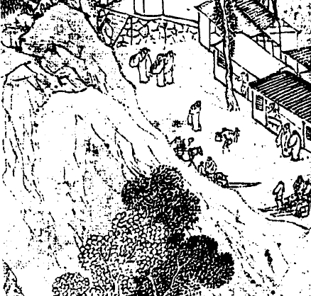 明,陸治,《支硎山圖》局部。圖右可以見到當時登山旅遊應雇的「肩輿」及「舁夫」。 圖片來源│巫仁恕提供,採自《氣勢撼人──17世紀中國繪畫中的自然與風格》