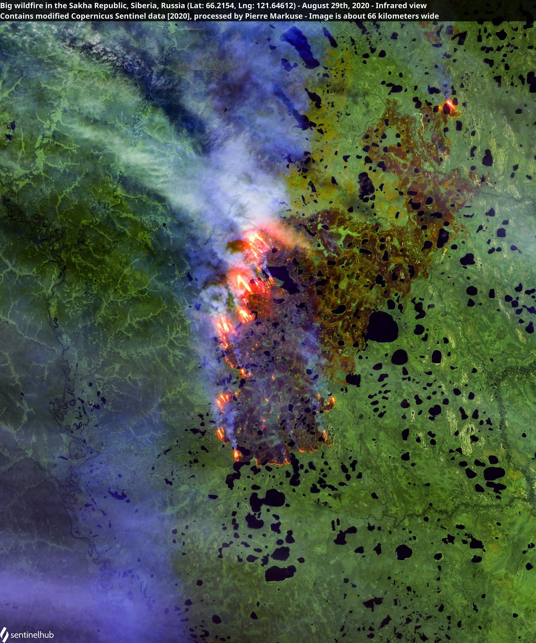 8月29日位於俄羅斯薩哈共和國的野火照。照片來源:Pierre Markuse(CC BY 2.0)