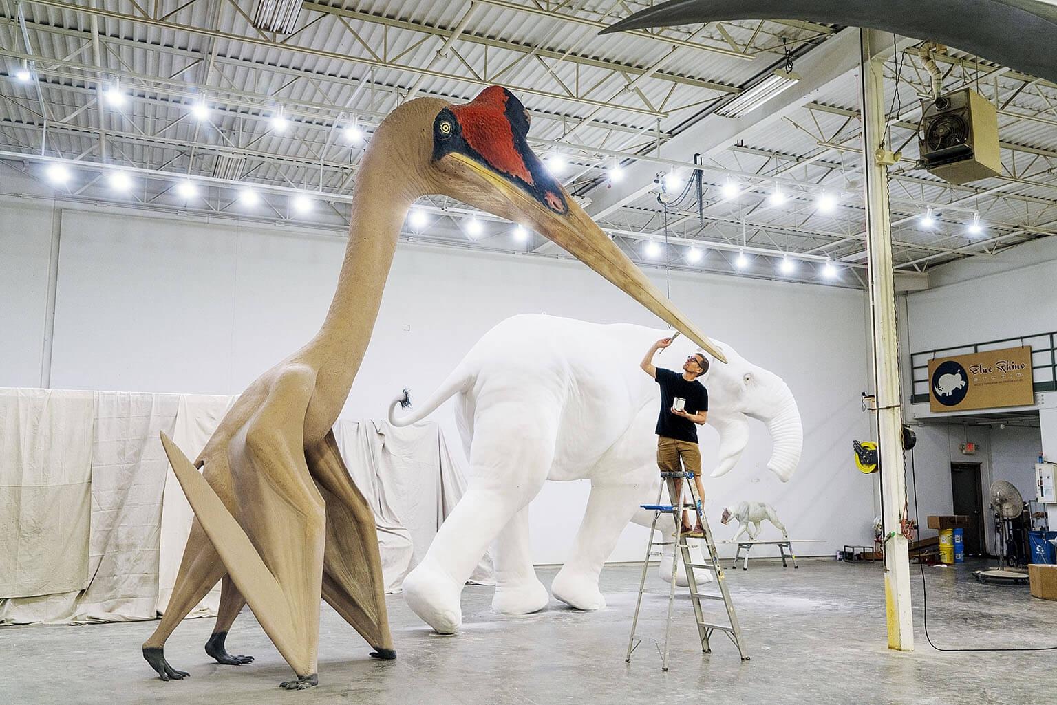 諾氏風神翼龍(Quetzalcoatlus northropi)幾乎和長頸鹿一樣高,翼展相當於F-16戰機,是有史以來最巨大的飛行動物之一。美國明尼蘇達州一個工作室正塗繪這個實物大小的模型,準備送往科威特一間文化中心。 攝影:羅伯特.克拉克 Robert Clark