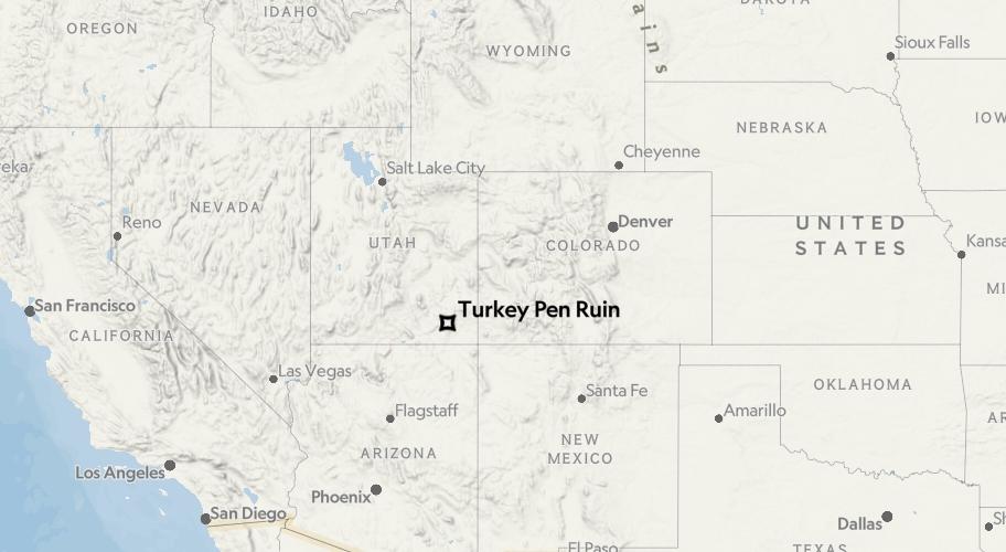 圖中星號為火雞圈廢墟(Turkey Pen site)在北美大陸的位置。