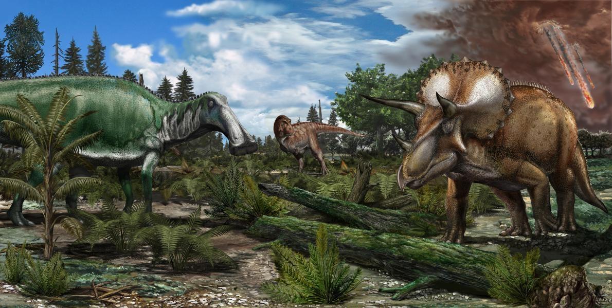 北美洲約6600萬年前一座氾濫平原的重建圖,霸王龍、埃德蒙頓龍(<i>Edmontosaurus</i>)與三角龍等恐龍漫遊其上。ILLUSTRATION BY DAVIDE BONADONN