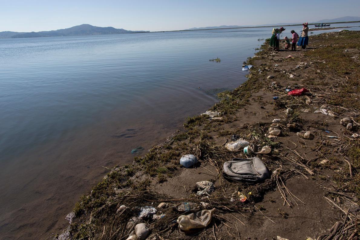 垃圾四處散布在的的喀喀湖岸,改變湖水酸度,經由皮膚皺褶吸收氧氣的湖蛙會因此而受害。PHOTOGRAPH BY RODRIGO ABD, AP