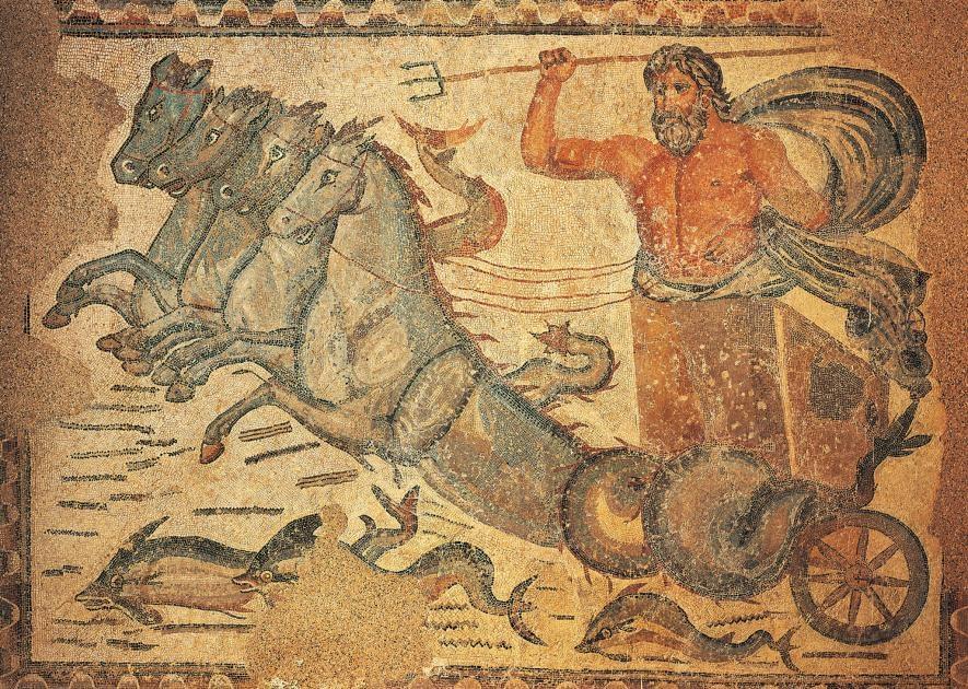 這幅4世紀的鑲嵌畫發現於薩穆加迪的東側浴場中,圖中描繪羅馬海神尼普頓(Neptune)駕著一輛由馬頭魚尾怪(半馬半魚)所拉的戰車。收藏在薩穆加迪的考古博物館。PHOTOGRAPH BY DEA/ALBUM