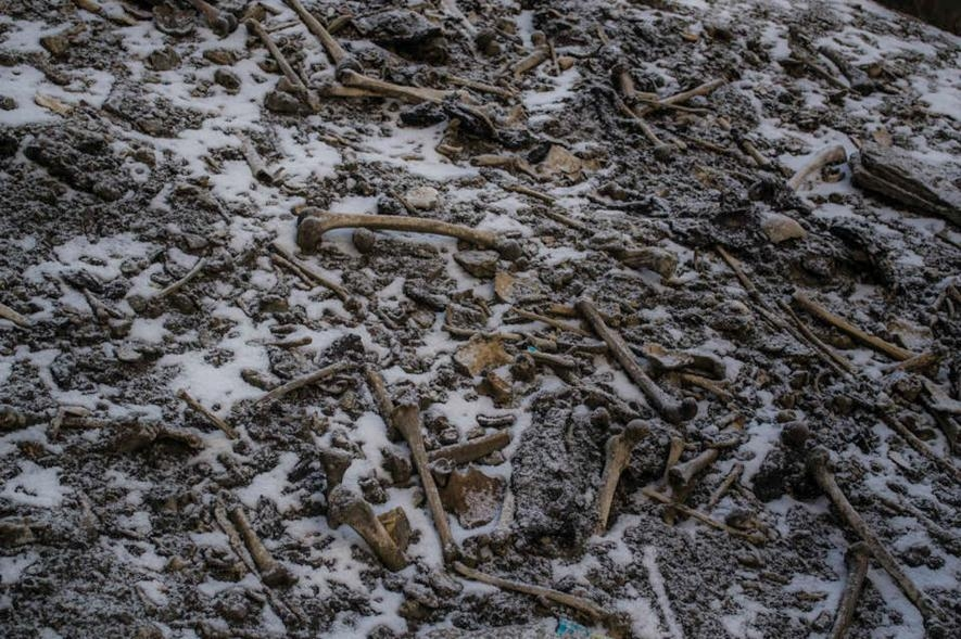 喜馬拉雅山區的路普康湖(Roopkund Lake)畔散落著人骨。PHOTOGRAPH BY HIMADRI SINHA ROY