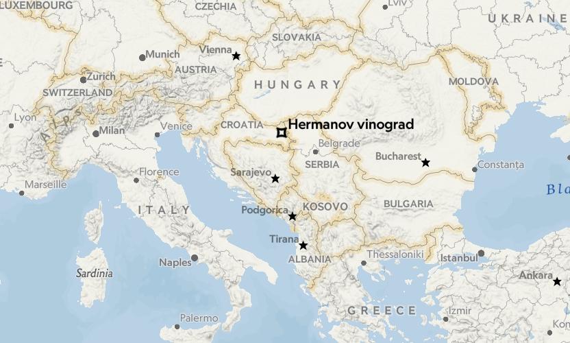 Hermanov vinograd遺址的所在位置。