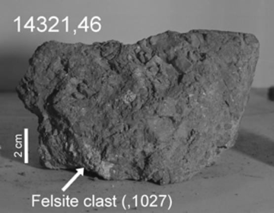 月岩14321號樣品中包含的地球岩石碎片。圖片來源:月球與行星研究所