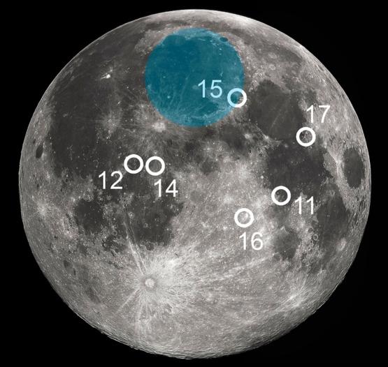 白色圈圈代表阿波羅系列諸任務的著陸位置;藍色區域內的月海便是雨海。圖片來源:維基百科;本文作者在此基礎上添加了雨海的範圍