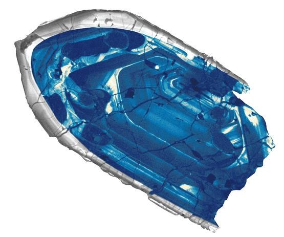 傑克山崗的鋯石晶體,是迄今發現的最古老地球物質,形成了大約44億年前。但除了年齡以外,它無法提供更多關於當年環境的線索。圖片來源:John Valley, University of Wisconsin