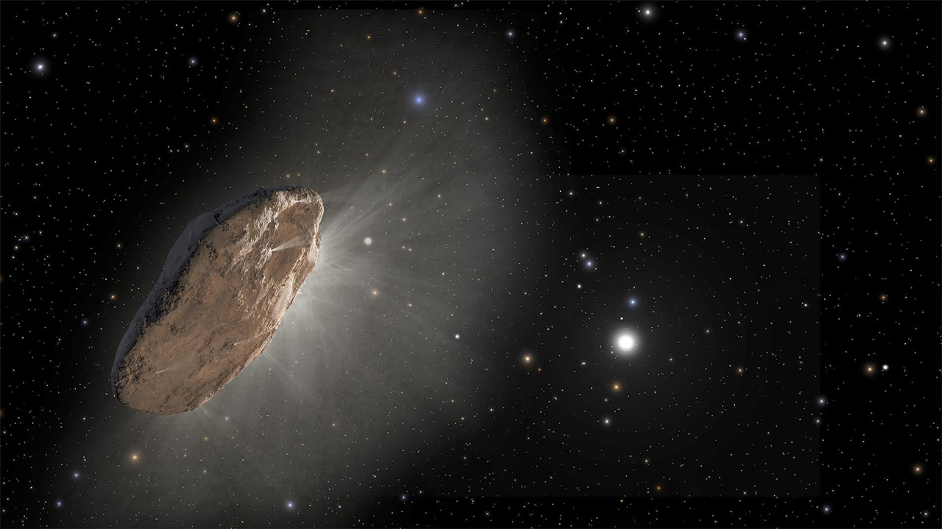 是藝術家對我們首度偵測到的星際訪客──斥侯星('Oumuamua)的想像圖。一位業餘天文學家在8月30日發現了它的繼任者:一顆名為C/2019 Q4「鮑里索夫」(Borisov)的彗星。根據這顆彗星的軌道推測,這是它此生中唯一造訪太陽系的機會。ILLUSTRATION BY J. OLMSTED AND F. SUMMERS, NASA, ESA