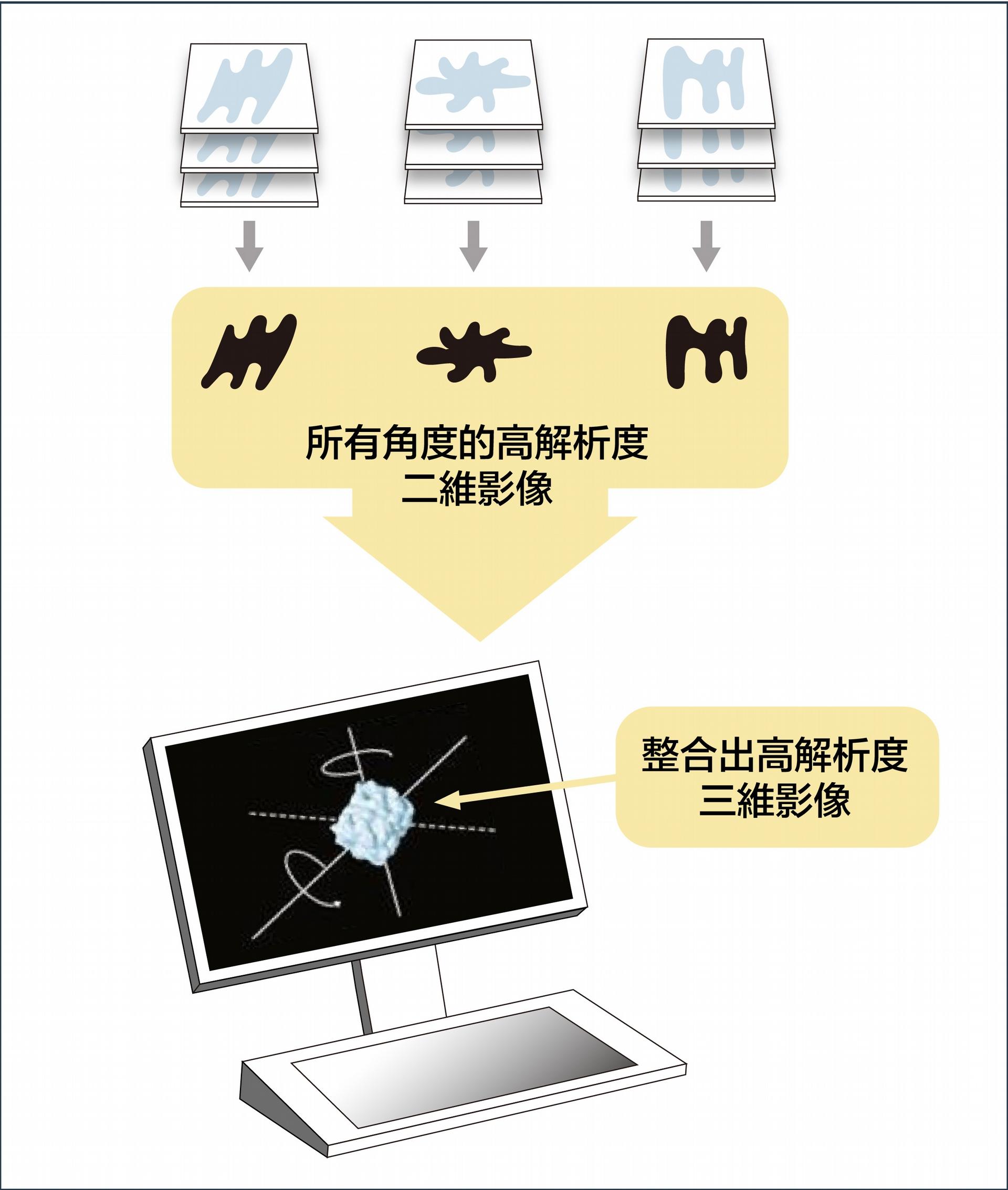 第一步:電子束撞擊隨機排列的生物分子,形成不同的影像。電腦把上千張相似的影像放在一起,變成一組,合成ㄧ張高解析度的二維影像。 資料來源│諾貝爾獎官網 2017 化學獎冷凍電子顯微鏡簡介 圖說設計│黃曉君、林洵安