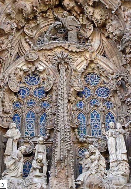 誕生立面-誕生立面位於教堂南邊,是第一個完工的立面,雖然沒有照高第原本的期望塗上鮮豔的顏色,但立面仍是依照高第的設計,三座正門上方刻滿一系列的雕刻藝術。雕刻描繪耶穌的誕生和早期生活,一旁還有唱歌和吹號的天使,豐富的細節布滿精雕細琢的牆面,如十字架、念珠、植物、鳥類、動物,甚至約瑟夫工作坊的木匠工具。