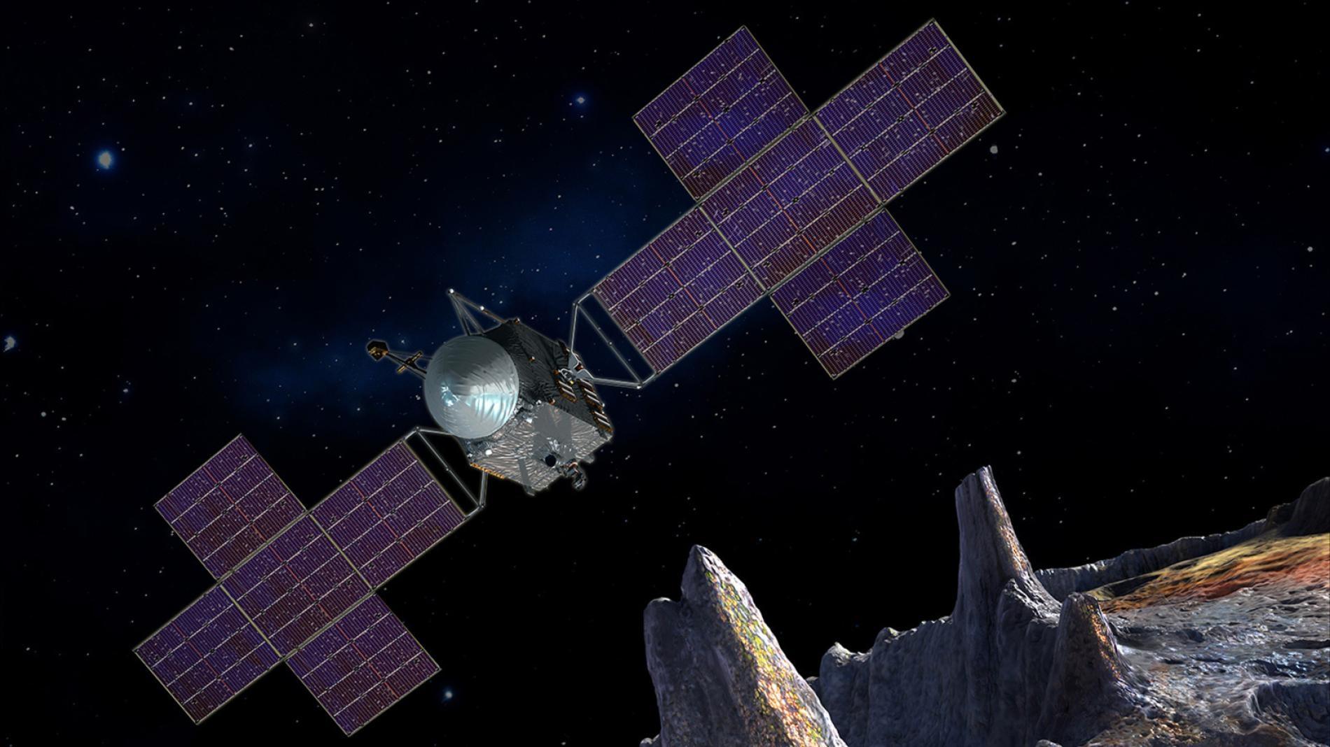 美國航太總署(NASA)的靈神星(Psyche)任務將在2026年抵達第 16號小行星靈神星──太陽系質量最大的小行星之一。 這顆小行星閃閃發亮的光澤暗示,它可能是早期行星鐵鎳核的一部分,或可能在形成後不久就有熔融的鐵穿過薄層地函滲出。ILLUSTRATION BY MAXAR/ASU/PETER RUBIN