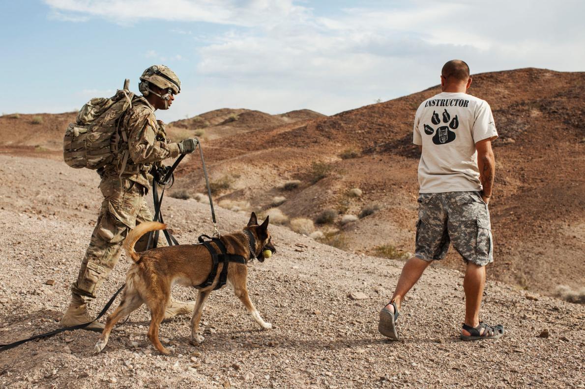 <b>野外訓練</b> – 在猶馬演習場,上兵安德烈.里德(Andre Reid, 左)正在聽承包商馬克.洛伊德(Mark Lloyd)講解關於指揮狗兒方面的知識。PHOTOGRAPH BY ADAM FERGUSON, NATIONAL GEOGRAPHIC