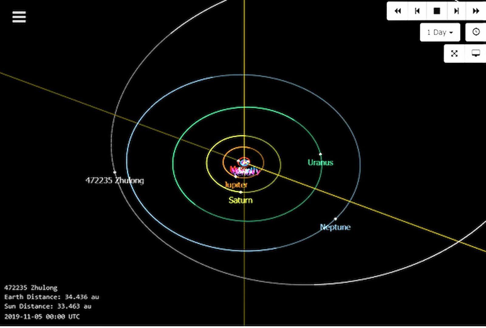 由指導老師林士超帶領何艾玲等學生發現「燭龍」小行星,圖翻拍自NASA/JPL。