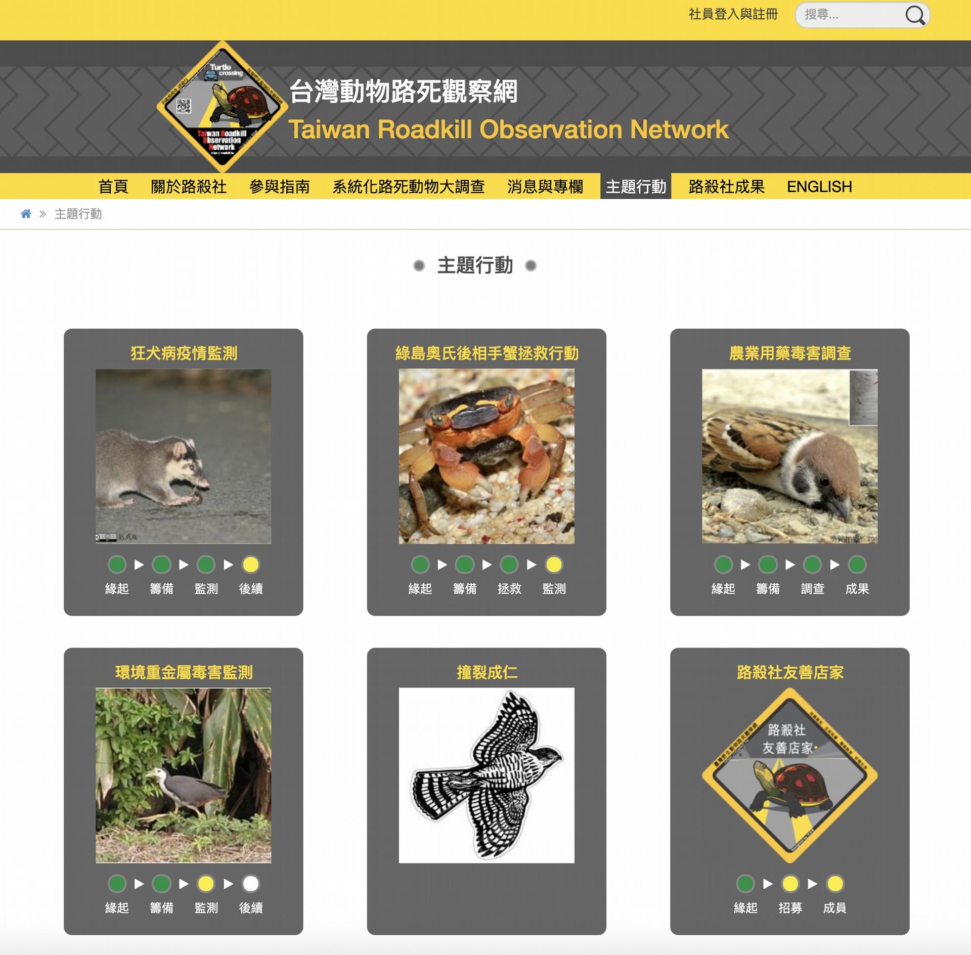 「台灣動物路死觀察網」 (Taiwan Roadkill Observation Network) 目前的功能與介面非常完整。特生中心與中研院資訊所的合作計畫進行了四年,在後期莊庭瑞做了決定,持續調整資料流程,但把網站製作與維護的工作委託給拾穗者文化的張藝鴻。如此一來,在合作計畫結束之後,仍能保障網站的經營維護與永續發展。圖片來源│台灣動物路死觀察網