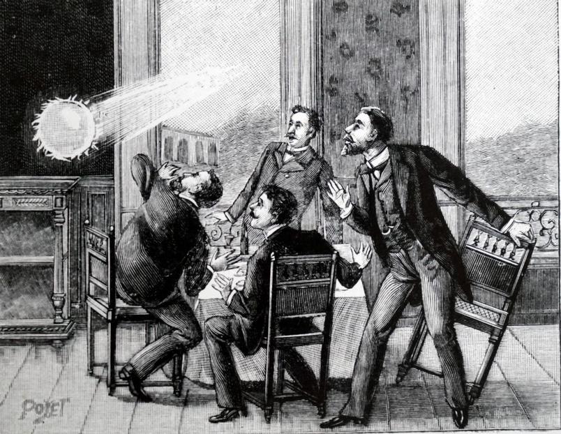 這幅法國插圖描繪的是球狀閃電從窗戶飛進房間,歷史上有許多這樣的紀錄。 ILLUSTRATION FROM WORLD HISTORY ARCHIVE, ALAMY STOCK PHOTO