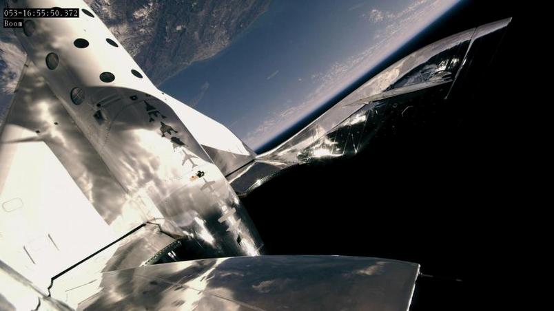 維珍銀河公司的太空飛機「太空船2號」(SpaceShipTwo)於今年2月22日,飛抵高度89公里的太空邊際。 PHOTOGRAPH BY VIRGIN GALACTIC