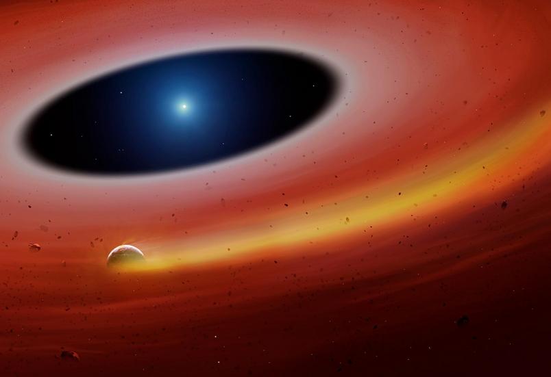 這張藝術家的想像圖描繪出新發現的恆星系統,有塊行星碎片繞著白矮星公轉。ILLUSTRATION BY UNIVERSITY OF WARWICK/ MARK GARLICK