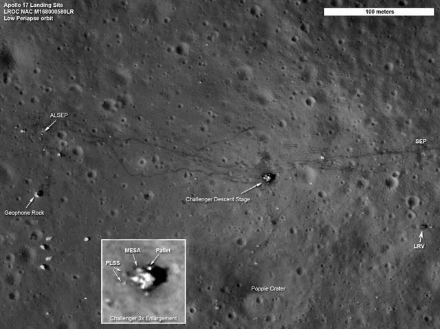 LRO 拍攝的阿波羅17號著陸點的圖片:能夠看到太空人留下的路徑,著陸點,月球車,火山,以及遺留下來的設備等。圖片來源:NASA