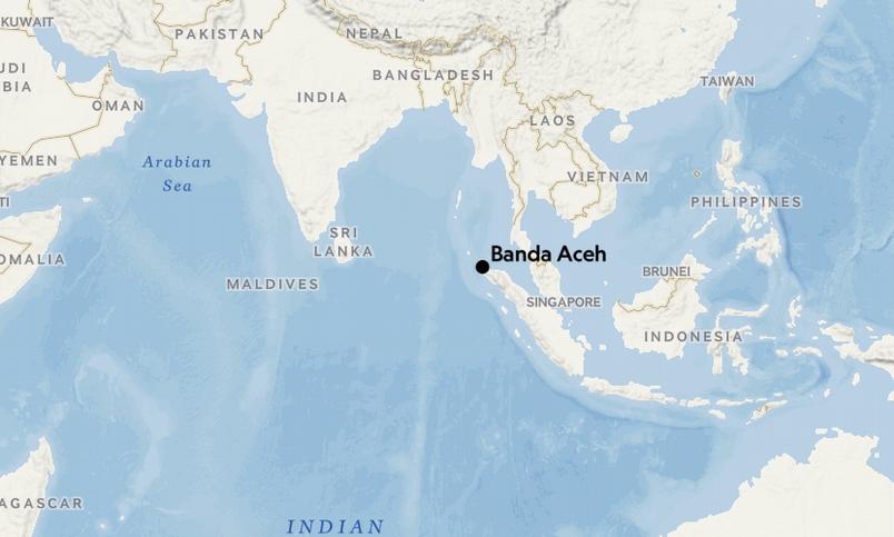 圖中黑點為班達亞齊(Banda Aceh),如今是亞齊省的首府。
