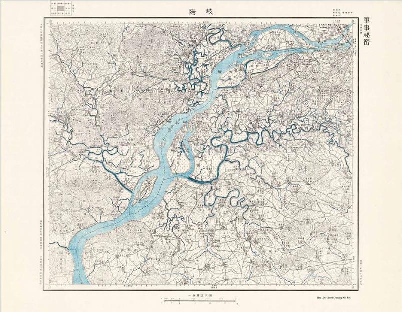 這張1947年日本軍用地圖顯示現今北韓首都平壤的周圍地區。