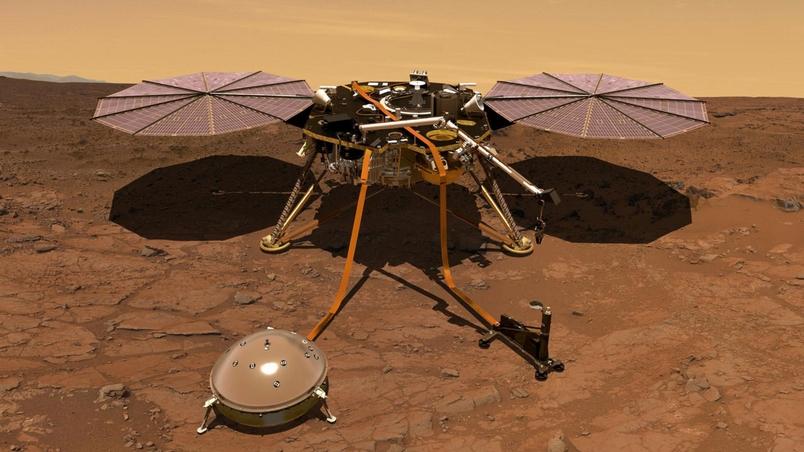 這張插圖繪製了安放在火星表面的洞察號登陸器。登陸器磁力計所獲得的初步數據顯示,這顆紅色星球的磁場會在夜晚以無法解釋的方式搖擺。ILLUSTRATION BY NASA