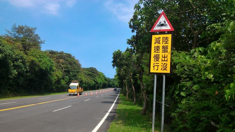 在路殺熱點設立特定物種的警告牌,提醒駕駛減速慢行。圖片提供│林德恩