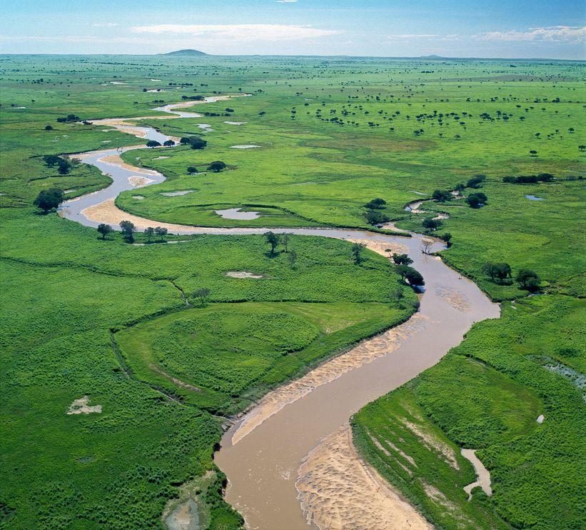 加蘭巴河在加蘭巴國家公園的草原上一路蜿蜒。攝影:NIGEL PAVITT, JOHN WARBURTON-LEE PHOTOGRAPHY/CORBIS