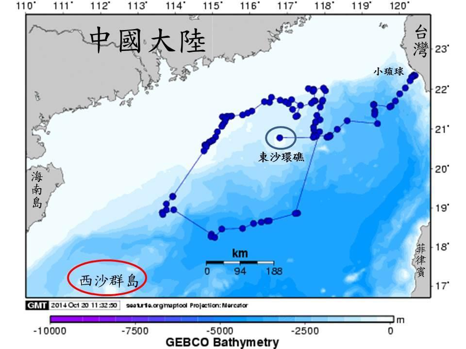 Fig. 1. 2014年琉球洄游路徑