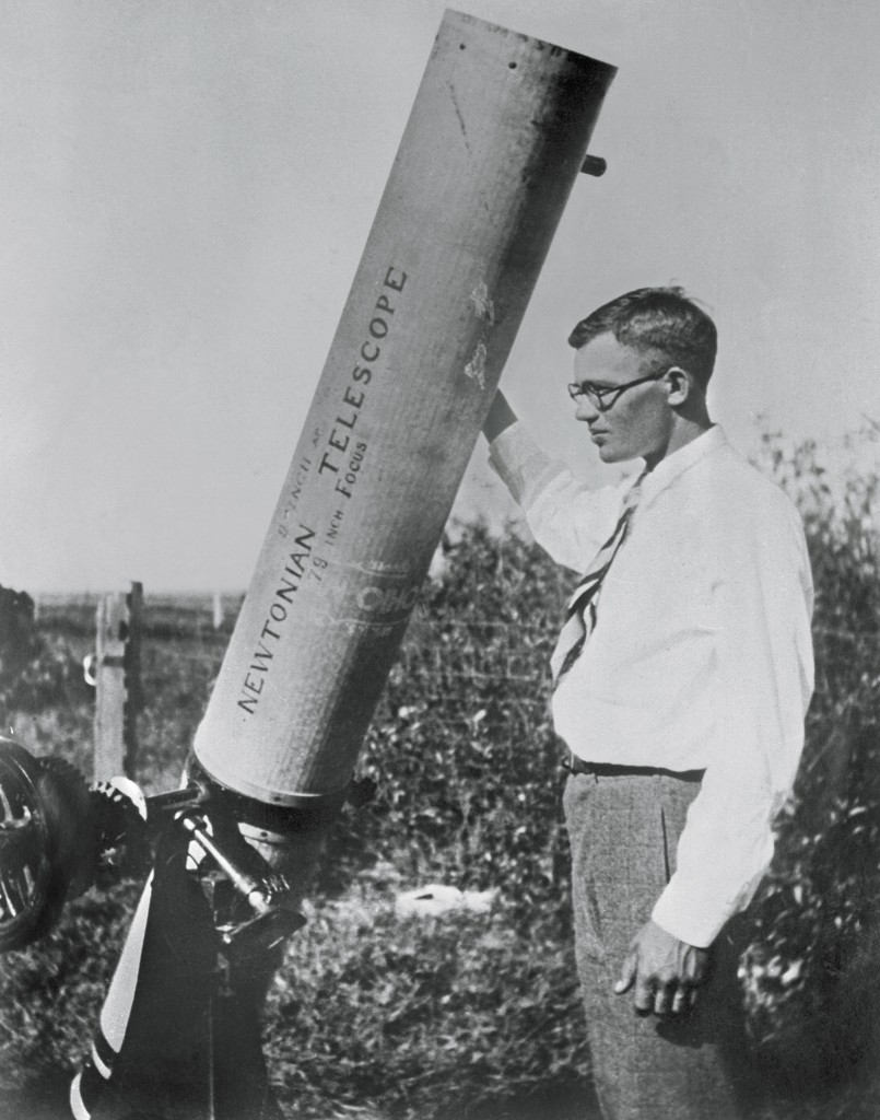 Clyde Tombaugh with Newtonian Telescope