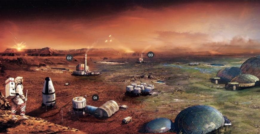 火星居住地概念圖,取自《前進火星》http://goo.gl/7RdBi5