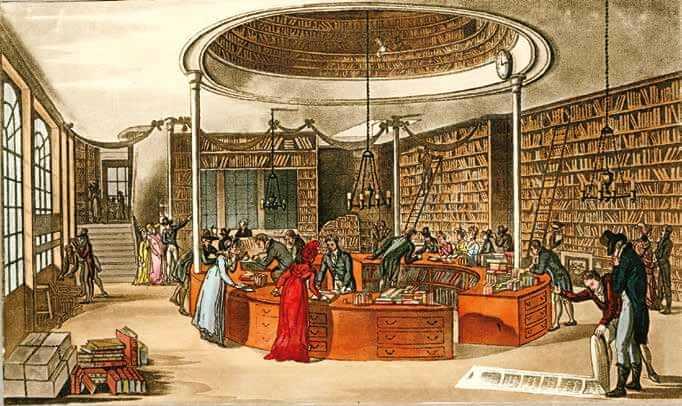 位於北倫敦芬斯伯瑞廣場(Finsbury Square) 的拉金頓(Lackington)書店,有「繆思的神廟」之稱,據說這裡寬敞到四馬馬車可以繞著圓形的櫃臺行駛。拉金頓有許多創舉:他印製巨大的存書目錄,並且不讓客人賒帳。