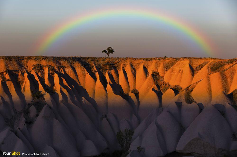 土耳其卡帕多細亞大雨過後的彩虹