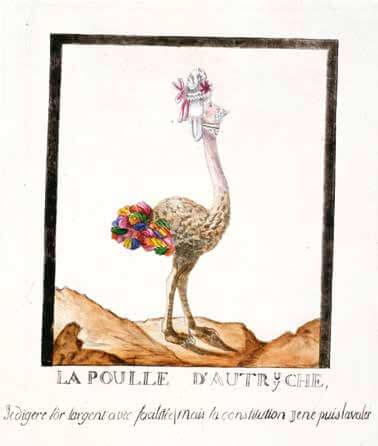 1791 年的法國版畫〈奧地利母雞〉以瑪麗皇后為諷刺的對1象。標題寫著「金銀珠寶大口吃,唯有憲法難下嚥」。法國大革命後,小冊刊物蔚為風潮。