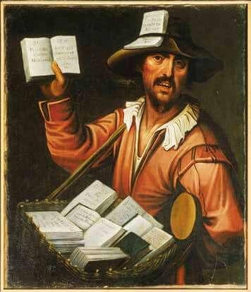 1623 年法國佚名畫作, 畫中顯示一名巴黎流動書販(colporteur),對著過往群眾叫賣廉價手冊和小本子。