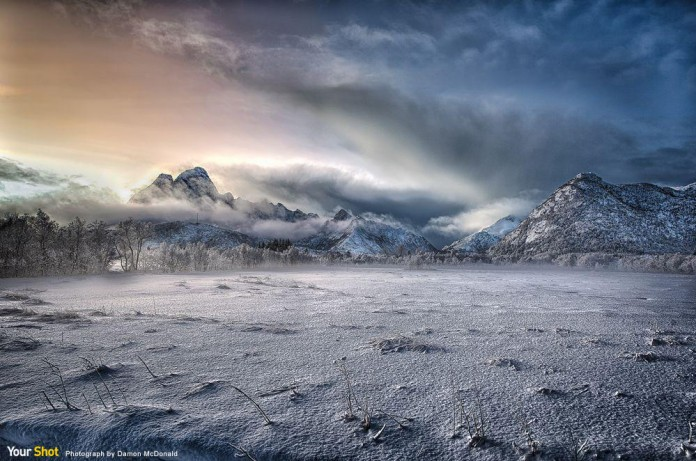 洛弗坦群島冬季時的灰暗天色