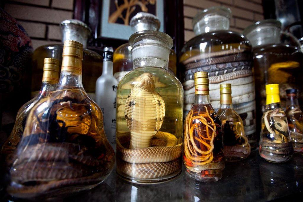 越南河內商店內的蛇酒。這些蛇酒有時是將活生生的蛇浸泡在米酒中淹死後製成。Photograph by Luong Thai Linh, EPA/Corbis