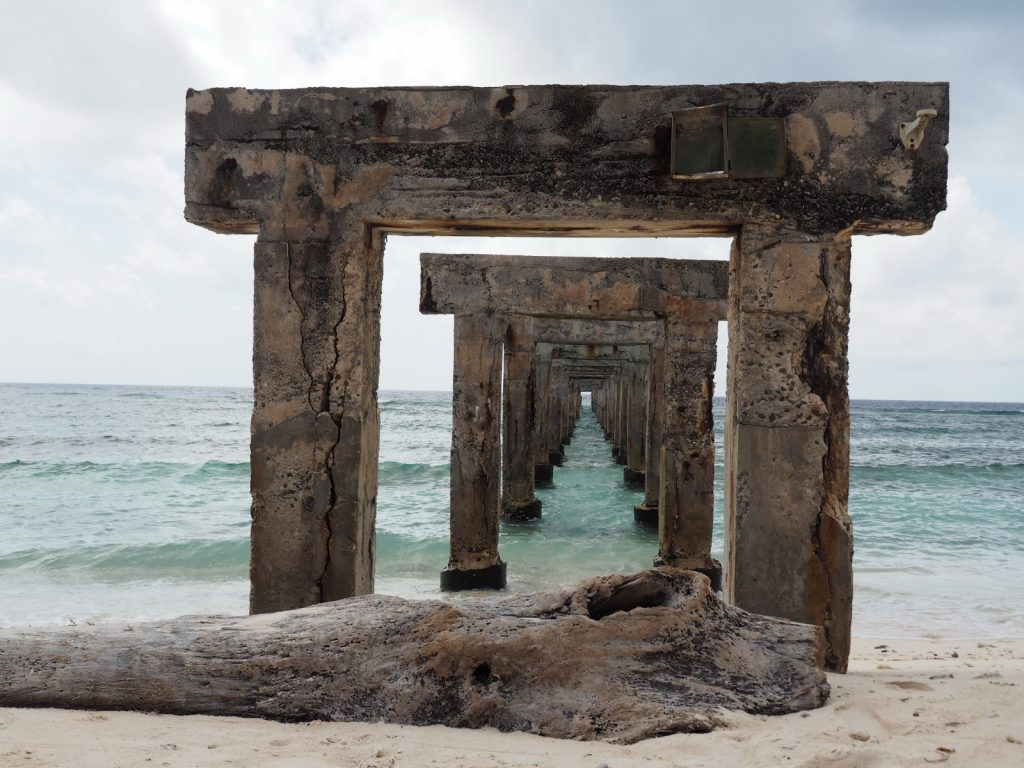 太平島東南方的舊棧橋是舊碼頭的遺跡