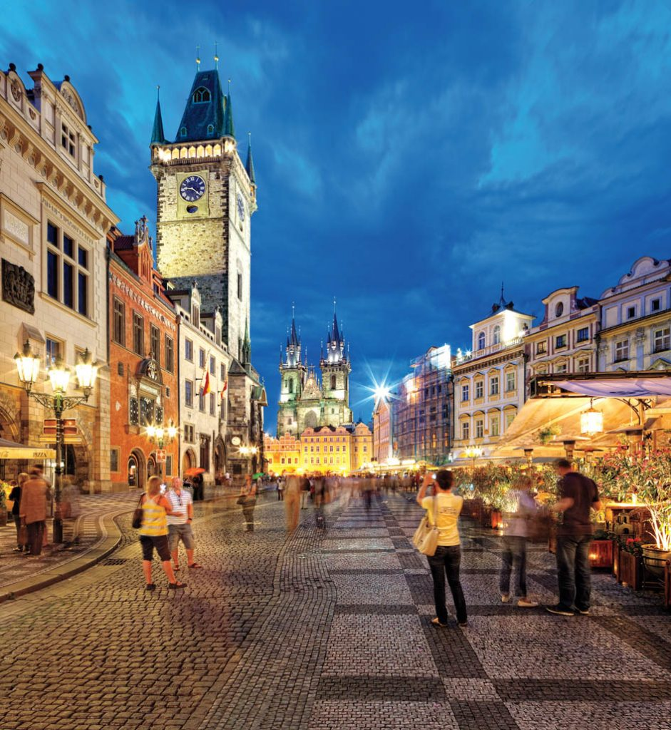 Czech Republic, Central Bohemia Region, Bohemia, Prague, Old Town Square, Astronomical Clock, Tyn Church in the background